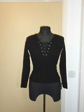 New Look Black Ribbed Top - Size 8