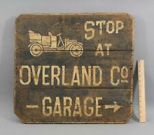 Antique Authentic circa-1920s Painted Wood Overland Automobile Garage Sign
