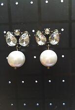 J. Crew Pearl Jewel Box Earrings -Vantage Gold Tone (White) Wedding Earrings