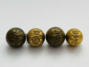 4 Victorian Royal Artillery Military British Army Brass Buttons Firmin & Co