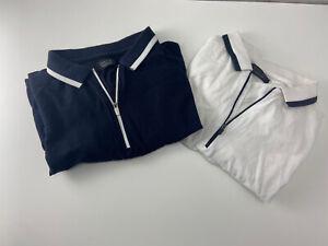 Zara Man White Short Sleeve Polo Top with Black Trim Collar with Zip Size Medium