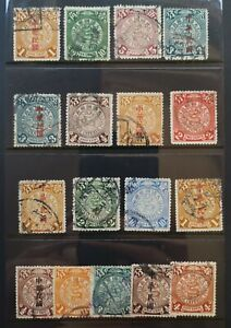 China dragon stamps Imperial post - 49 pieces on 3 pages 5)