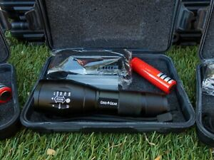 LED Tactical Survival Flashlight + 18650 Battery + Charger + Case! Super Bright!