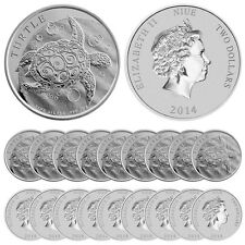 2014 Silver New Zealand $2 Niue Hawksbill Turtle Coins (BU, Lot/Roll/Tube of 20)