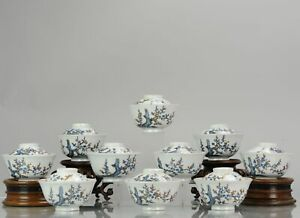 Antique Japanese CHaiwan Meiji/Taisho Period Set Of Tea Bowls Porcelain...
