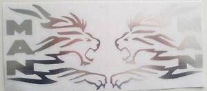 MAN TRUCK LION CHROME STICKERS DECALS X2 LOGO LION