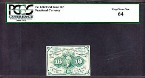 US 10c Fractional Currency Note 1st Issue w/ ABC FR 1242 PCGS 64 V Ch CU (004)