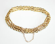 Beautiful Antique 15ct Gold 3-Bar Gate Link Bracelet 15.3 Grams