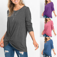 Women Casual  O-Neck Long Sleeve Front Side Knot Twist Top T-Shirt Blouse HTNW