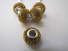 SILVER CORE CZECH CRYSTAL BEADS FOR EUROPEAN STYLE CHARM BRACELETS - GOLD 01