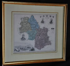 Ancienne gravure département Isère sous verre et cadre Barbier & Walter