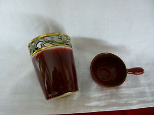 Becher  oder Blumenvase  mit Schälchen - Keramik - Glasur in dunkelrot