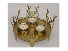 Hirschtablett mit 3 Teelichtgläsern gold Weihnachten Weihnachtsdeko Tischdeko