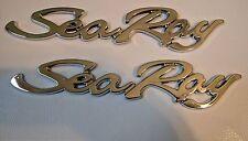 2 BRAND NEW Sea Ray Scripts Emblem SeaRay Emblem Badge w/ADHESIVE BACKING OEM