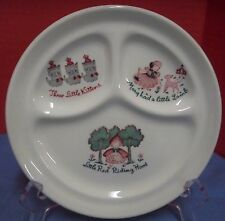 Vintage Child's Divided Plate Nursery Rhymes Walker China Vitrified Thick 8 1/4""