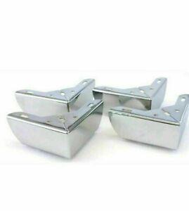 BRAND NEW 4 x Chrome Metal Furniture Corner legs Feet  sofas-stools nice legs