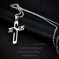 Jeus Womens Men's 316L Stainless Steel Titanium Pendant Silver  CHAIN Necklace