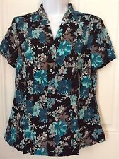 Croft Barrow Womens Button Up Print Floral Teal Black Top Short Sleeve