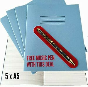5 X A5 School Exercise Note Books Rhino half lined half music staves + FREE PEN