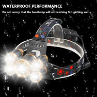 Zoomable Tactical 80000LM 5x T6 LED Hunting 18650 Headlamp Head Light Torch USA