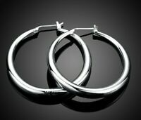 "18K White Gold Plated 1"" Thin Solid Hoop Earrings Silver Hoops"