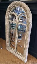 Large Vintage Style White Wood Rubbed Mirror Arch Frame 5 Panel