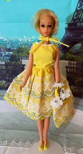 Vintage Mattel Barbie Doll Francie Outfit # 1254 Fresh As A Daisy Dress Bonnet