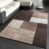 Modern Brown Beige Rug Small Large Checked Carpet Living Area Quality Mats Rugs