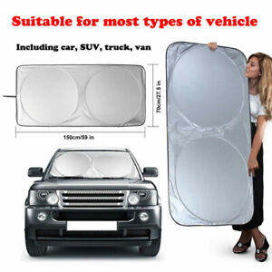 "Foldable Large Sun Shade Truck Van Car Windshield Visor Block Cover 75"" x 35.4"""