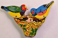 VINTAGE TIN  CLICKER TOY Pair of BIRDS Feeding Young MADE IN JAPAN