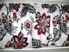Waverly Red Black Gray White Jacobean Paisley Valance Window Curtain