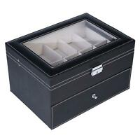 20 Slot Leather Watch Box Display Metal Hinge Glass Top Large Storage Holder US