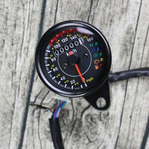 KM/H MPH Retro Mini Motorcycle LED Speedometer Odometer Gauge Cafe Racer Bobber!
