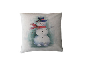 Handmade Christmas Snowman digital Print water colour linen look cushion cover