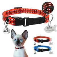 Reflective Small Dog Pet Puppy Kitten Cat Collar with ID Tag Personalised &Bell
