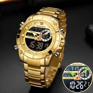 Men Military Sport Wristx Watch Gold Quartz Steel Waterproof S Invicta Silver