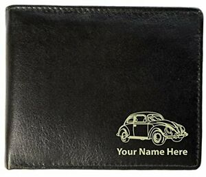 VW Classic Bug Design, Personalised Mens Leather Wallet