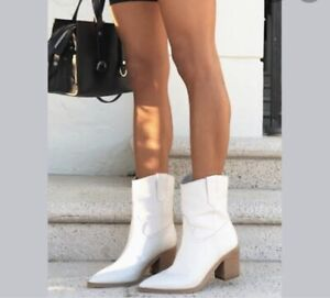 Tony Bianco Leather Scout Ankle Boots Milk White Sz 6 / 36-37 NEW $269.95