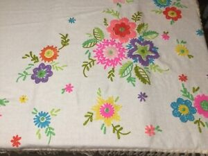 Large fringe throw blanket 53x49 crochet bright flowers retro table cover cloth