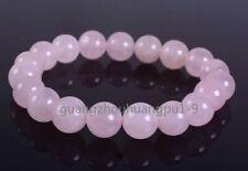 """10mm Fashion Rose quartz round gemstone beads stretchable bracelet 7.5"""""""