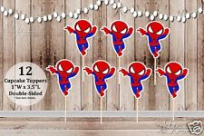 Set of 12 Boy Spiderman Inspired Action Superhero Double Sided Cupcake Toppers