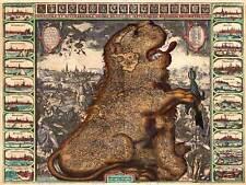 Mappa ANTICA Belgio Paesi Bassi LION SPADA 30x40cm fine art print poster bb8151