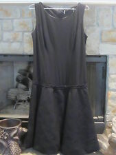 Vintage 1970s Little Black Dress /Drop Waist /Bubble Hem / Gay Gibson / Textured