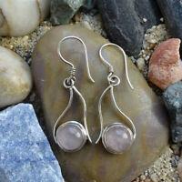 Vintage 925 Sterling Silver + Quartz Dangle Pierced Earrings Modernist Design