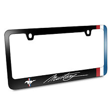 Ford Mustang Script Side Red White Blue Stripes Black Metal License Plate Frame