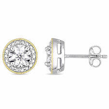 Amour 2-Tone Yellow Plated and White Silver Diamond Earrings