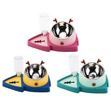 2 In 1 Double Dog Cat Bowls Automatic Water Dispenser Feeder No-Spill Pet