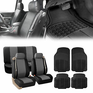 Truck Seat Cover for Integrated Seat Belt Gray Black w/ Black Floor Mats