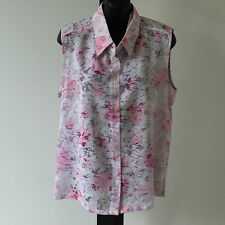 'FUNDEMANTAL WOMAN' BNWT SIZE '10' MAUVE, PINK & WHITE SLEEVELESS FLORAL TOP