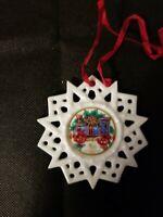 Hutschenreuther Christmas Tree Ornament Porcelain Poinsettia Snowflake German